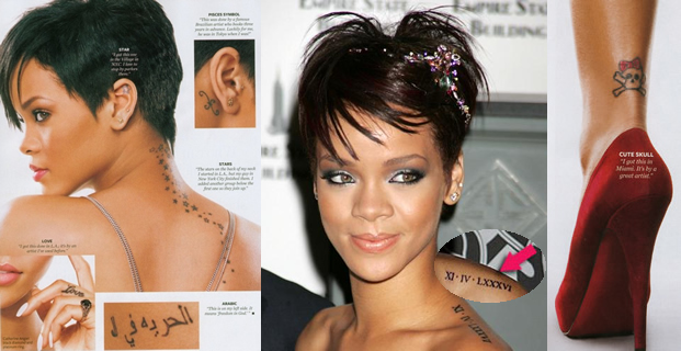 Rihanna's tattoos in his hand and ribs:
